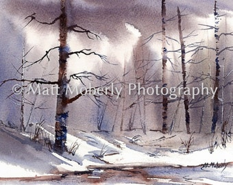 Winter Scene birch trees fine art print