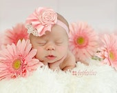 Handmade Pink Rosette Headband Embellished with Lace and Pearls, Newborn Photo Prop, Newborn Headband