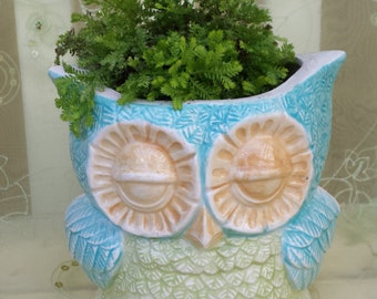 Owl Planter or Canister Vintage Design Home Decor Kitchen or Bath