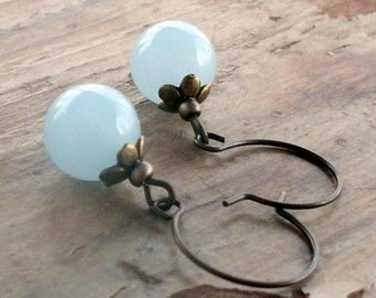 Pale Blue Aquamarine Vintage Style Earrings Round Beads Bronze Earwires
