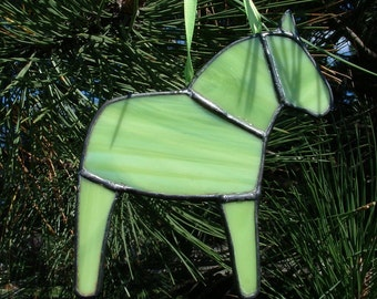 Lime Green Dala Horse Ornament, Swedish Christmas Ornament, Tiffany Style Stained Glass Horse, Swedish Custom, Free US shipping