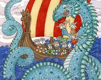 "Viking Ship the Saga Norse sea Dragon Art Print 11"" x 14"""
