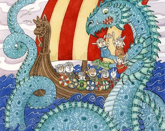 "The Saga Viking Ship Sea Dragon Art Print 16"" x 20"" Limited Edition"