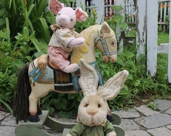 Two Country Gentlemen, Rabbit and Pig stuffed animal sewing pattern, digital download, PDF