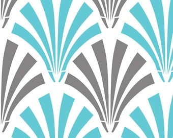 NEW Camelot fabrics, DECO FANS in blue, yard