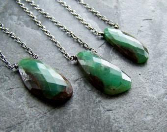 Handcrafted Artisan Jewelry-Handmade Necklace-Faceted Chrysoprase Nugget Sterling Silver Organic Rustic Necklace
