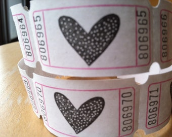 Vintage Style Hand Stamped Heart Carnival Tickets