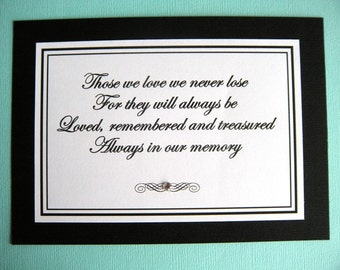 5x7 Flat Printed Always in Our Memory Wedding Printed Sign in Black and White - In Loving Memory - Grandparents Sign - Ready to Ship