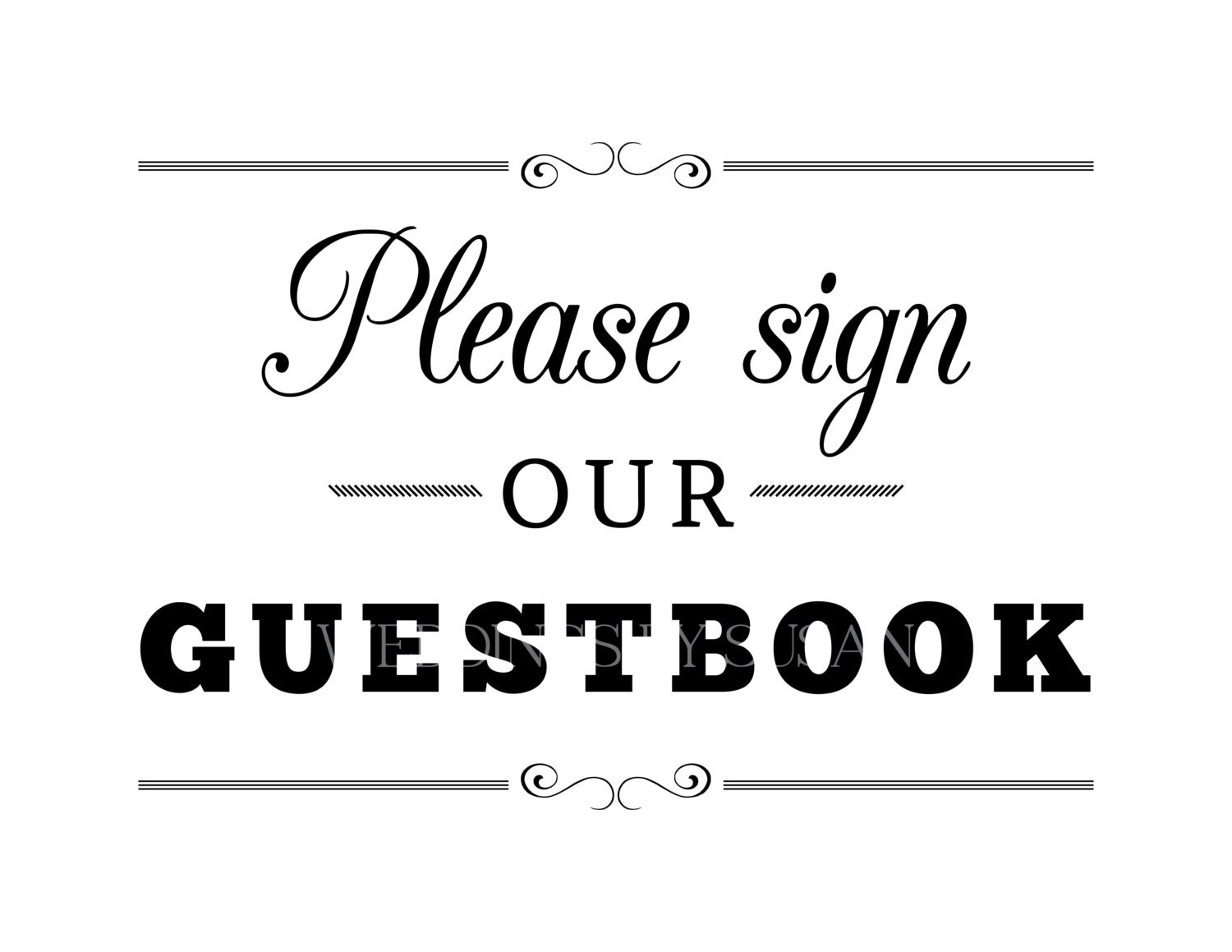 Sweet image with please sign our guestbook free printable