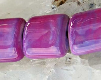 7 Radiant Orchid Nuggets , Handmade Lampwork Beads by Beadfairy Lampwork SRA