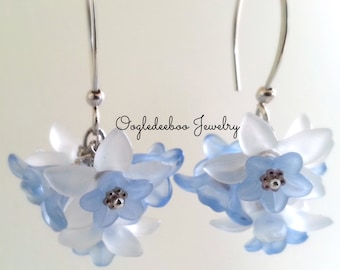 Lucite Flower Cluster Bouquet Earrings Blue and White Flowers Long Dangles Something Blue Baby Boy Blue New Mom Gift