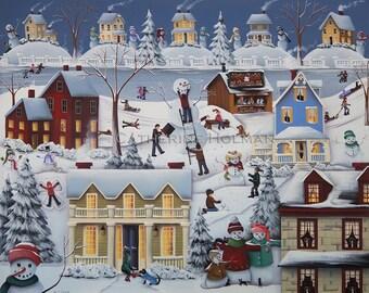 Folk Art Print Chimney Smoke and Cheery Snow Folk