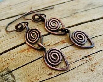 Raining Copper - antiqued copper wire wrapped dangle earrings in raindrop swirls