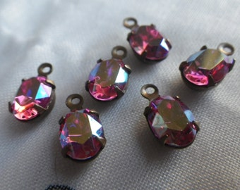 Rose AB Vintage Swarovski Oval 8x6mm Glass Drops 6 Pcs