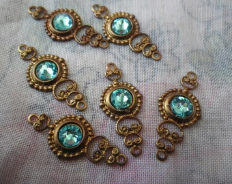 Swarovski Light Turquoise Brilliant Glass Fancy Filigree Drops 6 Pcs