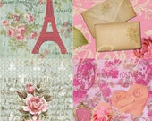 Buy 1 Get 1 FREE Paris Rose - Carte Postale - French Royal Shabby - Digital Collage - Antique Images - INSTANT Download
