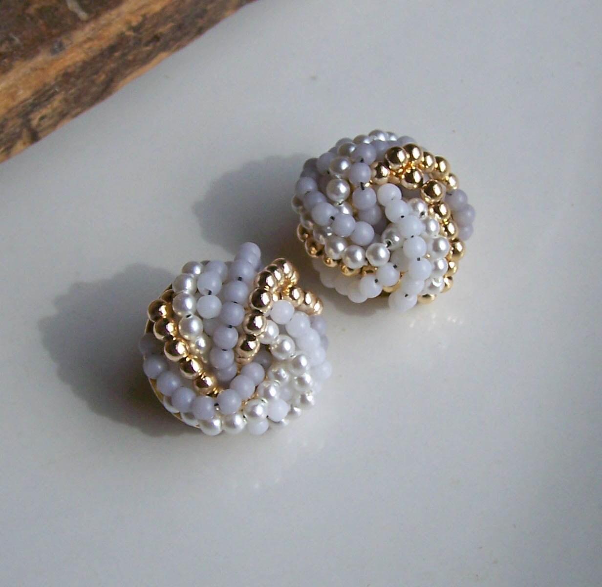 vintage earrings vintage seed bead earrings white earrings