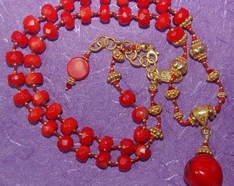 Hand knotted semi precious red coral, Swarovski crystal and 24k gold vermeil necklace