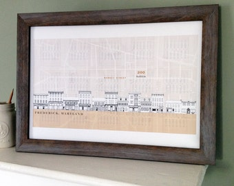 FREDERICK Maryland (Art Print) Historic Streetscape Architectural Map Drawing