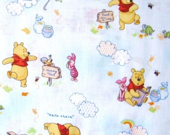 Winnie the Pooh 2011, Little Cloud Friends Cotton Fabric 34in. Long X 44 Wide, Last Chance.