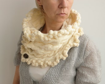 Ivory SCARF, neck warmer, fashionable,hand knitted, circle scaf