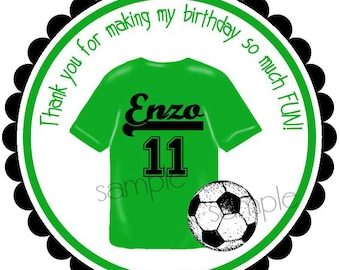 Soccer Stickers, Soccer Favor labels, Soccer party, Soccer Ball, Jersey, set of 12