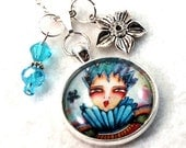 Silver Pendant, Queen Charm Necklace, Storybook Art, Chain or Black Cord Jewelry, Blue, Gift for Girl Woman Teen Friend