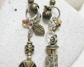 Asymmetrical gothic metals Dangle Earrings disc 2 1/2 inches bronz silver glass beads bohemian