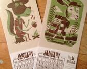 2 calendars CAMPING JR. RANGERS 2015 Rabbit & Squirrel Mini 2015 Hand Printed Letterpress