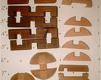 Vintage Japanese  Puzzle - Wood Brain Teaser - Vintage 70s Wooden Sculpture Desk Decor - Disassembled for Challenge