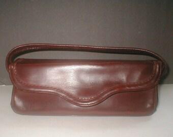 Brown Leather Handbag - Ladies Purse Vintage 30s Pocketbook Slender - Day Bag Casual