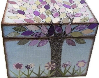 Recipe Box, Decorative Box, Couples Gift, Bridal Shower, Bridal Gift, Decorative Box, Purple Tree Wedding, Holds 5x7 Cards, MADE TO ORDER
