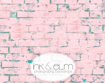 "Pink Brick Backdrop 4ft x 3ft, Pink Brick Wall Vinyl Photography Backdrop, Newborn Prop, Pink Brick Background, Prop, ""Tickle Me Pink Brick"""