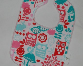 Aqua Forest Life Fabric and Chenille Boutique Bib