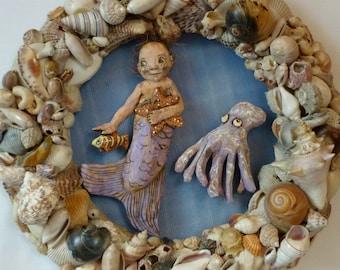 Mermaid, Octopus and Shells - Original Hand Carved Wood Mixed Medium on Vintage Shell Wreath - Sea Life