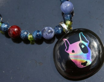 You will love this Necklace-- DICHROIC Fused Glass Necklace features adorable dog