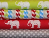 FABRIC SALE, 4 Fat Quarters Trunk Show Elephants and Diamond Stripes by Windham Fabric
