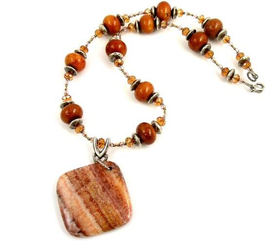 orange necklace gemstone necklace striped pendant by