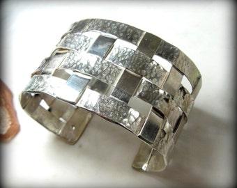 sterling silver cuff bracelet, woven silver, large chunky silver bracelet, wide cuff bracelet,