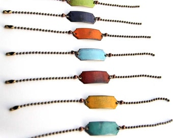 Artisan made torch fired glass enamel simple bar bracelet great for layering