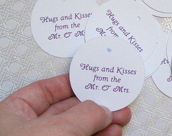 Wedding Favor Tags - Round Die Cut Circle Tags with Holes - White Card Stock Paper 2 inch