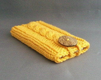 Cell Phone Cover for iPhone 4, 5 or 6/7, Samsung Galaxy s3 to s7 Hand Knit Golden Yellow Coconut Button Crochet Loop Office Gadget Case