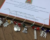 FREE SHIPPING Set of Teaching Wine Glass Charms