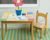 "Splat Mat/Tablecloth ""Turquoise Stripes"" - Laminated Cotton BPA  & PVC Free - Choose Your Size below!"