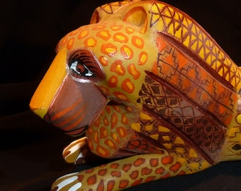 Gorgeous Golden Lion Oaxacan Woodcarving Mexican Folkart by Zeny Fuentes and Reyna