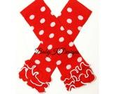 Red N White Minnie Mouse Polka Dot Ruffle Legwarmers. Baby Leg Warmers /Knit Leg Warmers / Footless Socks Dance Gymnastics Ballet Disney