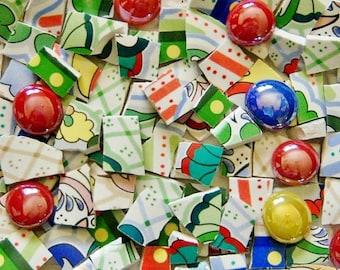 Mosaic Tiles---Hodgepodge---Custom Mix --100 Tiles- Free glass gems