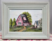 Shabby Summer Cottage, Hand Painted Framed Canvas, Home Decor, Collectible, Cottage Style, CSSTeam, ECS