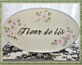 Fleur De Lis Wood Sign, Shabby Hand Painted Roses, Wall Sign, Decor, Home Accent, ECS, CSSTeam
