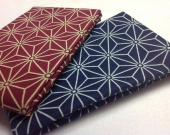 2 Fat Quarters Japanese Collection Black Blue Cranberry Cream Quilting Sewing Fabric